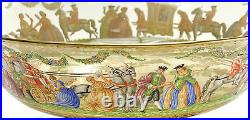 Venetian Amber Art Glass Hand Painted Enamel Large Footed Bowl