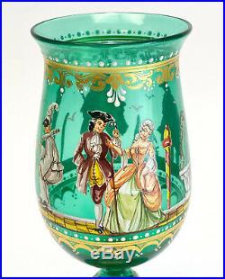 Venetian Art Glass Hand Painted Enamel Water Goblet, c1940. Figures
