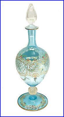 Venetian Blue Art Glass Hand Painted Enamel Wine Decanter, circa 1930