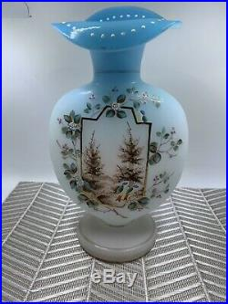 Victorian Art Glass Blue fade to Milk glass enameled Vase hand painted Bristol