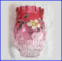 Victorian art glass vase with hand painted flowers hand blown