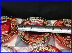 Vintage 1948 Venetian Ruby Glass Art Tea Cup Saucer Set Hand Paint Enamel 24K
