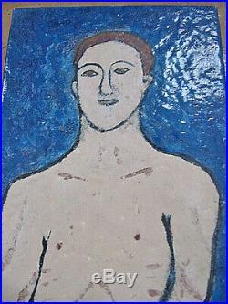 Vintage 1960's Folk Outsider Art Isaac Irwin Rabinov 1898-1980 Enamel On Metal