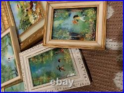 Vintage 1960s MID-CENTURY Lot of 6! Flower Floral Enamel on Copper Paintings