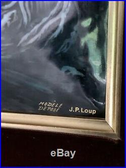 Vintage 2 French Betourne Limoges Enamel on Copper Art Painting J. P. Loup