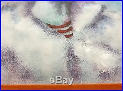 Vintage 70s Dominic Mingolla Enamel Clown Painting Framed Signed + Brochure