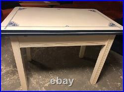 Vintage Art Deco Blue & White Enamel & Painted Wood Expanding Top Table