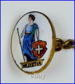 Vintage Art Deco Hand Painted Enamel Cufflinks Swiss Helvetia RARE ECF702