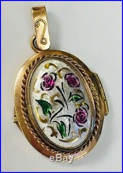 Vintage Art Nouveau Solid 14k Rose Gold Hand Painted Floral Enamel Locket
