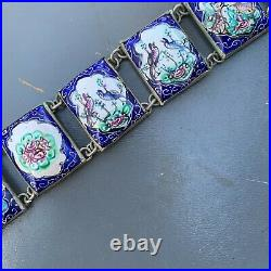 Vintage Art deco Persian hand Painted Enamel Silver Tone Panel Bracelet
