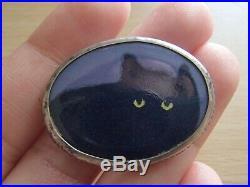 Vintage Artisan VICTOR LEE Sterling Silver Enamel Painted Art Cat Brooch Pendant