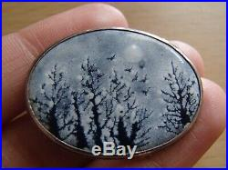 Vintage Artisan VICTOR LEE Sterling Silver Enamel Painted Art Sky Brooch Pendant