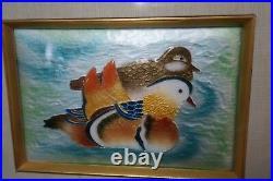 Vintage Asian Cloisonne Enamel Art Plaque Painting of two Birds Framed