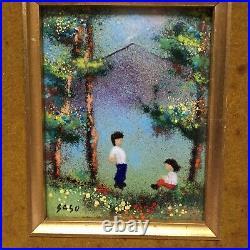 Vintage Authentic Enamel Framed Art Work Signed by Saso