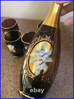 Vintage Bohemian Art Glass Decanter Hand Painted Enamel Flower & Gold- 4 glasses