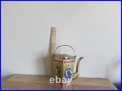 Vintage Brass Chinese Teapot Hexagonal Enamel Painted Ancient Figures Art Taiwan