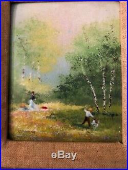 Vintage Charles Parthesius Enamel Painting on Copper 4 x 5
