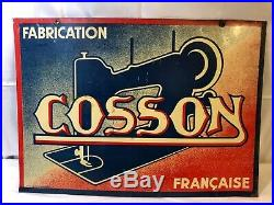 Vintage Cosson Sewing Machines Double Sided Tin Metal Enamel Advertising Sign
