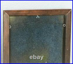 Vintage Enamel Art Wall Hanging Painting 2 pc Set 1950s Metal On Copper Signed