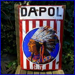 Vintage Enamel Dapol Metal Sign Painted Poster Wall Art Garage 40 cm x 60 cm