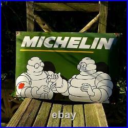 Vintage Enamel Michelin Metal Sign Painted Poster Wall Art Garage 40 cm x 60 cm