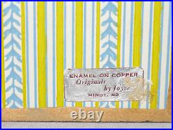 Vintage Enamel On Copper Hand Painted Plaque, Signed, Framed