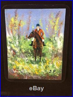 Vintage Enamel On Copper Horse Equestrian Husbandry