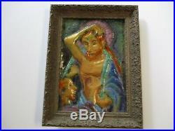 Vintage Enamel On Copper Large Unique Icon Modernism MID Century Expressionist
