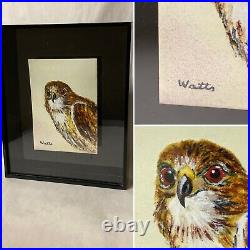 Vintage Enamel On Copper Painting Bird Of Prey, Signed Watts, Framed In Lucite