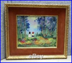 Vintage Enamel On Copper Painting PARK By Louis Cardin With COA