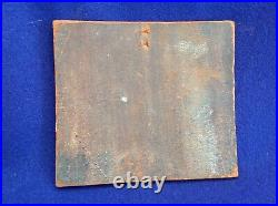 Vintage Enamel On Copper Wall Plaque MID Century Abstract Painting Art Horses