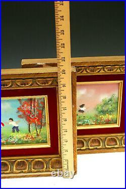 Vintage Enamel Painting Impressionist Fleming Children Copper Plate MCM