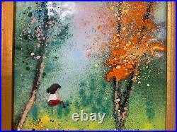 Vintage Enamel on Copper Framed Depicting Girl in the Forest Signed