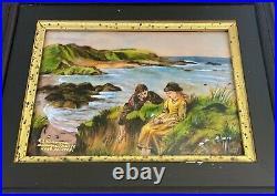 Vintage Enamel on Copper Hand Painted Seascape Limoges France Signed FJ Carmona