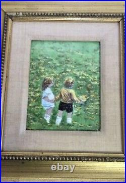 Vintage Enamel on Copper Painting, Artist Signed