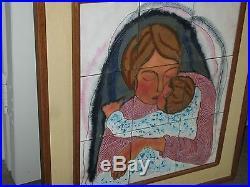 Vintage Enamel on Copper Painting Judaica Signed Tamar Lynn 9 Plaques 25 x 28