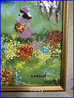 Vintage Enamel on Copper Painting by Louis Cardin Framed and Signed