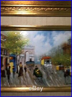 Vintage Framed ENAMEL on COPPER PAINTING by S. Richard European Street Scene