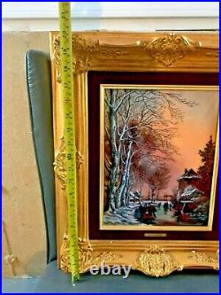 Vintage French Betourne Limoges Enamel on Copper Sleighride by J. P. Loup