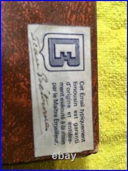 Vintage French Enamel Over Convex Copper Signed By Jean Betourne, Limoges, Fr