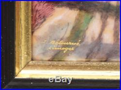 Vintage French Enamel Painting over Convex Copper J Betourne Limoges