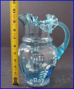 Vintage Hand Blown Blue Art Glass Handled Pitcher Enameled Hand Painted 9 3/4