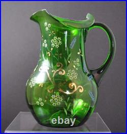 Vintage Hand Blown Green Art Glass Handled Pitcher Enameled Hand Painted Pontil