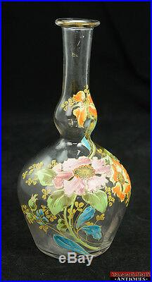 Vintage Hand Painted Enameled Purple Orange Floral Art Glass Gourd 10 Vase