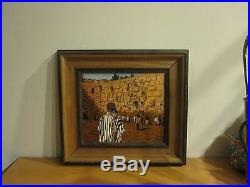 Vintage Israel Judaica Enamel on Copper Painting Kotel Jerusalem Wall 9 x 10