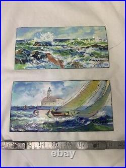 Vintage J. Kooper Copper Enamel Lake/Water Art Scene Painting Artist Cool
