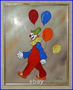 Vintage Jean Lucey Enamel Copper Clown Painting Balloons Signed France Framed