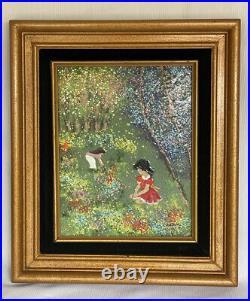 Vintage LOUIS CARDIN Enamel on Copper Painting Signed Art Two Girls Flowers