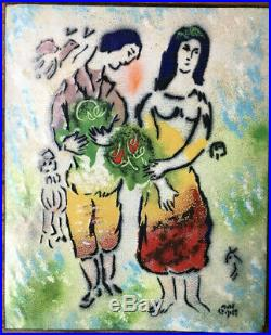 Vintage LOVERS Marc Chagall Signed Enamel On Copper PLaque