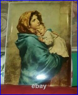 Vintage Large Enamel Plaque Roberto Ferruzzi Madonna of the Streets Portrait